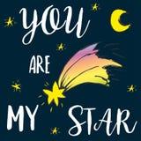 Είστε η εγγραφή αστεριών μου, ουρανός με το φεγγάρι, αστέρια και κομήτης ελεύθερη απεικόνιση δικαιώματος