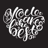 Είστε η καλύτερη, καρδιά-διαμορφωμένη μαύρη άσπρη εγγραφή Στοκ φωτογραφία με δικαίωμα ελεύθερης χρήσης