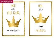 Είστε η πριγκήπισσά μου Είστε ο βασιλιάς της καρδιάς μου Στοκ Εικόνες