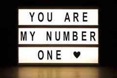 Είστε ο αριθμός μου ένα ελαφρύς πίνακας σημαδιών κιβωτίων Στοκ Εικόνες
