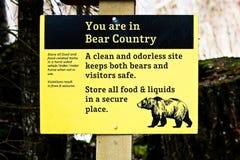 Είστε στο σημάδι χώρας αρκούδων Στοκ Φωτογραφίες
