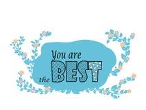 Είστε το καλύτερο - μπλε floral απεικόνιση Στοκ Φωτογραφία