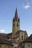 Εβαγγελική άποψη του Sibiu Ρουμανία καθεδρικών ναών από Cibin στοκ φωτογραφία με δικαίωμα ελεύθερης χρήσης