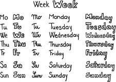 εβδομάδα ημερών στοκ εικόνες
