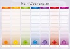 Εβδομαδιαίος αρμόδιος για το σχεδιασμό με 7 ημέρες και την αντιστοιχία Chakras στα χρώματα ουράνιων τόξων Απεικόνιση αποθεμάτων