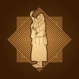 Εβραίος που φυσά το shofar διανυσματική απεικόνιση
