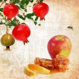 Εβραϊκά παραδοσιακά τρόφιμα για Rosh Hashana - εβραϊκό νέο έτος κόκκινος τρύγος ύφους κρίνων απεικόνισης Στοκ Εικόνες