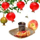 Εβραϊκά παραδοσιακά τρόφιμα για Rosh Hashana - εβραϊκό νέο έτος Στοκ Εικόνες