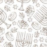 Εβραϊκό άνευ ραφής σχέδιο Hanukkah διακοπών Σύνολο παραδοσιακών συμβόλων Chanukah που απομονώνεται στο λευκό - dreidels, γλυκά