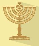 Εβραϊκό επτά-διακλαδισμένο κηροπήγιο menorah με το αστέρι του Δαυίδ, επίπεδη διανυσματική απεικόνιση σχεδίου με τη μακριά σκιά διανυσματική απεικόνιση
