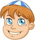 Εβραϊκό κεφάλι αγοριών με μπλε και άσπρο Kippah Στοκ φωτογραφία με δικαίωμα ελεύθερης χρήσης