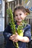 Εβραϊκό κορίτσι που ευλογεί στα τέσσερα είδη Στοκ Φωτογραφία