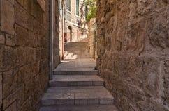 εβραϊκό τέταρτο της Ιερουσαλήμ αλεών αρχαίο Στοκ Εικόνες