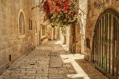 εβραϊκό τέταρτο της Ιερουσαλήμ αλεών αρχαίο στοκ εικόνα