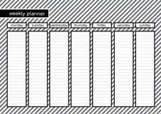 Εβδομαδιαίο άσπρο γκρίζο λωρίδα πλαισίων αρμόδιων για το σχεδιασμό μαύρο Στοκ Εικόνα
