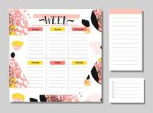 Εβδομαδιαίο πρότυπο αρμόδιων για το σχεδιασμό Διοργανωτής και σχέδιο με τις σημειώσεις και για να κάνει το διάνυσμα καταλόγων απο Στοκ φωτογραφία με δικαίωμα ελεύθερης χρήσης