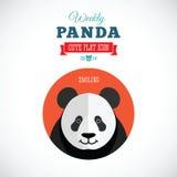 Εβδομαδιαίο χαριτωμένο επίπεδο ζωικό εικονίδιο της Panda - που χαμογελά απεικόνιση αποθεμάτων