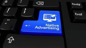 Εγγενής διαφήμιση γύρω από την κίνηση στο κουμπί πληκτρολογίων υπολογιστών απόθεμα βίντεο