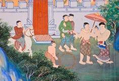 Εγγενής ταϊλανδική mural ζωγραφική Στοκ φωτογραφία με δικαίωμα ελεύθερης χρήσης