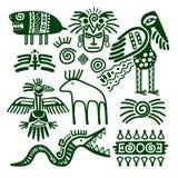 Εγγενή φυλετικά σημάδια των αζτέκικων και inca διανυσματική απεικόνιση