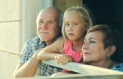 Εγγονή εκμετάλλευσης παππούδων και γιαγιάδων στοκ εικόνες