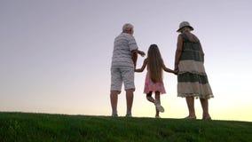 Εγγονή με τους παππούδες και γιαγιάδες, πίσω άποψη απόθεμα βίντεο