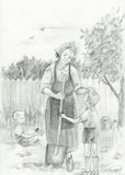 εγγονοί γιαγιάδων Στοκ Φωτογραφίες