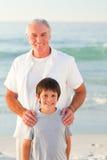 εγγονός παππούδων παραλ&iota Στοκ Εικόνα