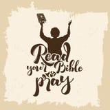 Εγγραφή Βίβλων Χριστιανική τέχνη Διαβάστε τη Βίβλο σας και προσεηθείτε διανυσματική απεικόνιση
