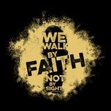 Εγγραφή Βίβλων Χριστιανική τέχνη Περπατάμε από την πίστη, όχι από τη θέα διανυσματική απεικόνιση