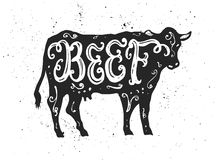 Εγγραφή βόειου κρέατος στη σκιαγραφία Στοκ Φωτογραφία