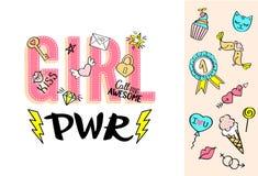 Εγγραφή δύναμης κοριτσιών με doodles girly και συρμένες χέρι φράσεις για το σχέδιο καρτών ημέρας βαλεντίνων, τυπωμένη ύλη μπλουζώ Στοκ Εικόνες