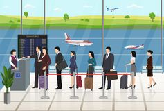 Εγγραφή επιβατών αερολιμένων που περιμένει στη γραμμή διανυσματική απεικόνιση
