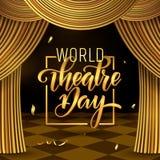 Εγγραφή ημέρας παγκόσμιων θεάτρων Πρότυπο καρτών πρόσκλησης κόμματος καρναβαλιού Διακοπές άνοιξη o διανυσματική απεικόνιση