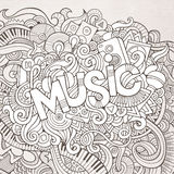 Εγγραφή και doodles στοιχεία χεριών μουσικής Στοκ Εικόνα