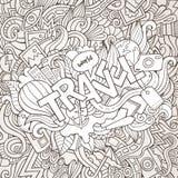 Εγγραφή και doodles στοιχεία χεριών ταξιδιού Στοκ Εικόνες