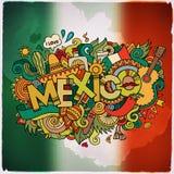 Εγγραφή και doodles στοιχεία χεριών χωρών του Μεξικού απεικόνιση αποθεμάτων