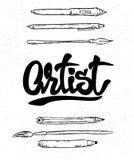 Εγγραφή καλλιτεχνών, μάνδρα πηγών και βούρτσα, εργαλεία Στοκ Εικόνες