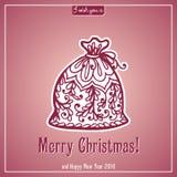 Εγγραφή Καλών Χριστουγέννων Κάρτα συγχαρητηρίων Στοκ εικόνα με δικαίωμα ελεύθερης χρήσης