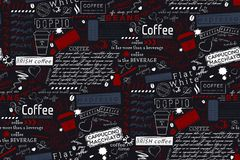Εγγραφή κειμένων του υποβάθρου όρων καφέ και καφέδων Άνευ ραφής vec απεικόνιση αποθεμάτων