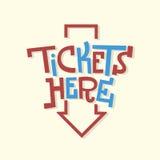 Εγγραφή πατουρών πλακών σημαδιών εισιτηρίων εδώ αστεία καλλιτεχνική με ένα AR Στοκ φωτογραφία με δικαίωμα ελεύθερης χρήσης