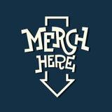 Εγγραφή πατουρών πλακών σημαδιών Merch εδώ αστεία καλλιτεχνική με ένα Arro Στοκ φωτογραφίες με δικαίωμα ελεύθερης χρήσης
