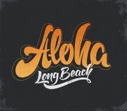 Εγγραφή σερφ Aloha Διανυσματική απεικόνιση καλλιγραφίας Τροπική γραφική παράσταση μπλουζών Στοκ Φωτογραφία