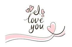 Εγγραφή της αγάπης λέξης, σ' αγαπώ με μορφή Στοκ Εικόνα