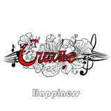 Εγγραφή τυπογραφίας με τα στοιχεία λουλουδιών στο υπόβαθρο Ευτυχία λέξης, μητρική γλώσσα μαύρο λευκό ελεύθερη απεικόνιση δικαιώματος