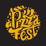 Εγγραφή φεστιβάλ πιτσών στο μαύρο υπόβαθρο Στοκ Εικόνα