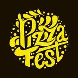 Εγγραφή φεστιβάλ πιτσών στο μαύρο υπόβαθρο Στοκ εικόνες με δικαίωμα ελεύθερης χρήσης