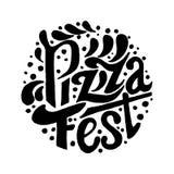 Εγγραφή φεστιβάλ πιτσών Συρμένο χέρι γράφοντας υπόβαθρο Απεικόνιση μελανιού Στοκ εικόνα με δικαίωμα ελεύθερης χρήσης
