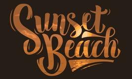 Εγγραφή χειρογράφων βουρτσών παραλιών ηλιοβασιλέματος Σχέδιο τύπων διανυσματικό graphi Στοκ Φωτογραφία