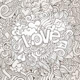 Εγγραφή χεριών αγάπης και doodles σκίτσο στοιχείων Στοκ εικόνες με δικαίωμα ελεύθερης χρήσης